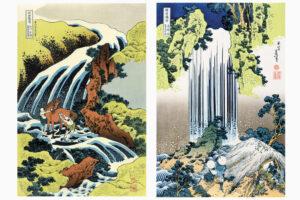 和州吉野義経馬洗滝         美濃国養老の滝